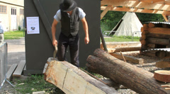 Building log home in Norway Stock Footage