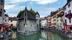 """Day to night timelapse of the """" Palais de l'isle """" in Annecy - France Stock Footage"""
