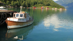 Fishing boat on a Norwegian fjord Stock Footage