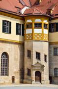 detailed view in the court of castle hohentubingen, germany - stock photo
