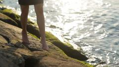 Stock Video Footage of Female feet on the seashore