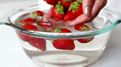 Strawberries washed Stock Footage