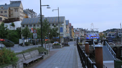 Kristiansund, Norway sidewalk & docks Stock Footage