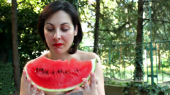 Juicy red watermelon Stock Footage