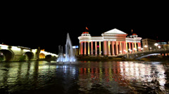 Beautiful night shoot of downtown and water reflection of Skopje, Macedonia Stock Footage