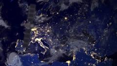 Telecommunication satellite over europe part of earth Stock Footage