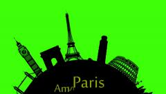 animation loop silhouette fantastic world famoust buildings and towns - stock footage