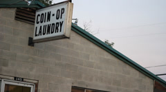Coin-op Laundry Sign Stock Footage