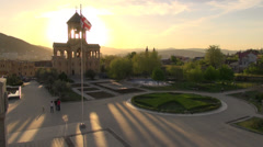 Sunset at entrance church, Tbilisi Stock Footage