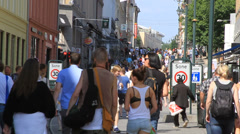 Downtown Oslo shoppers - stock footage