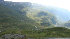 Norwegian mountain highway from above Stock Footage
