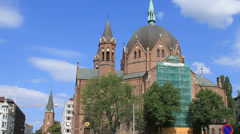 Downtown church pan to street Stock Footage