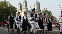 Traditional costumes parade (Romania) Stock Footage