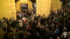Georgian Orthodox Easter, crowds have gathered for church mass at night Stock Footage