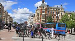 European city center square Stock Footage