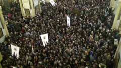 Crowd exits church after receiving blessing, cathedral, religion, Tbilisi Stock Footage