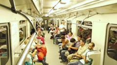 People in subway timelapse, crowd in out when train stops Stock Footage