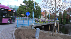Bridge decorated with flowers Stock Footage