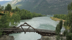 Interesting old foot bridge 2 Stock Footage