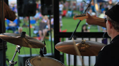 Drummer in a band. - stock footage