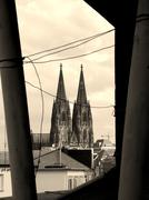 Ancient style artwork image of cologne`s gothic cathedral Stock Photos