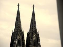 the two towers of the gothic cathedral in Cologne, Germany - stock photo