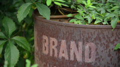 Old rusted chemical barrel Stock Footage