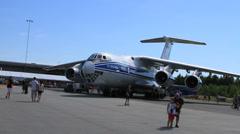 Russian Ilyushin II 76-TD Transporter Cargo plane Stock Footage