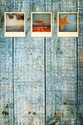 Vanhat kuluneet loma polaroid kuvia Kuvituskuvat
