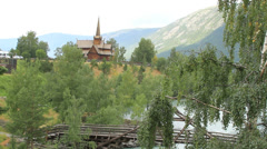 Scandinavian Stave church Stock Footage
