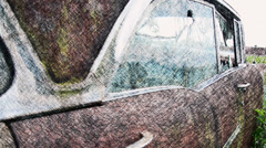 sketch pan of old automobile - stock footage