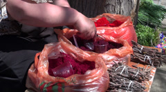 Selling dye for Easter eggs, Tbilisi, Georgia Stock Footage
