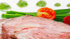 Barbecue on white dish Stock Footage