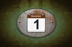 old wooden calendar with december 1. - stock illustration