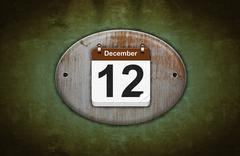 Stock Illustration of old wooden calendar with december 12.
