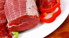 Raw meat on plate Stock Footage