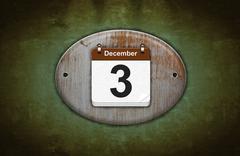 old wooden calendar with december 3. - stock illustration
