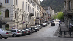 Tbilisi streets architecture housing solemn stately uphill downtown Stock Footage