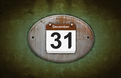 Old wooden calendar with december 31. Stock Illustration