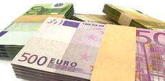 euro notes bundles stack extreme closeup - stock illustration