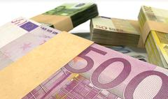 Euro notes bundles stack extreme closeup Stock Illustration