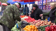 Vegetable stand, Tbilisi market, Georgia Stock Footage