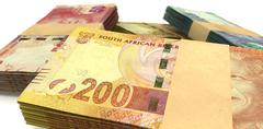 south african rand notes bundles stack extreme close - stock illustration
