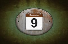 old wooden calendar with december 9. - stock illustration