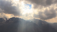 Sun Rays Clouds Mountains Stock Footage