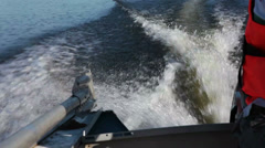 Motor boat track on water Stock Footage