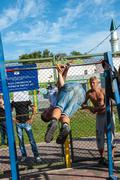 Amateur competitions of street workout Stock Photos