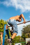amateur competitions of street workout - stock photo