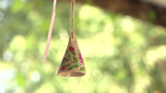 Wooden bell with a picture Stock Footage