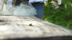 Beehive Smoker top slow motion - stock footage